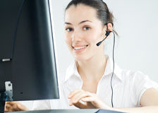 Wearing a headset Stock Images