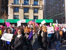 Wearing a Judge Robe at the Women`s March, Central Park West, NYC, NY, USA stock photo