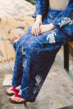 Wearing kimono and geta shoes Royalty Free Stock Image
