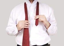 Wearing necktie Stock Photos