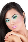 Wearing pink and green makeup Stock Photography
