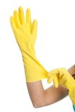 Wearing protective gloves Royalty Free Stock Photos