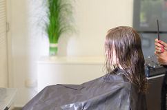 Wearing Salon Cape Inside the Parlor Stock Photo