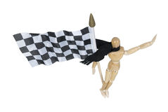 Wearing Scarf Holding Checkered Flag Royalty Free Stock Images