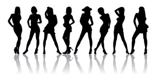 Wearing A Sexy Skirt. Silhouettes a women who are sexy and wearing a sexy skirt Royalty Free Stock Photos