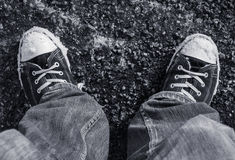 Wearing sneakers in Winter Stock Photography