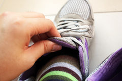 Wearing Sport Shoes. Start a new day with exercising Stock Images