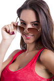 Wearing sunglasses Stock Images