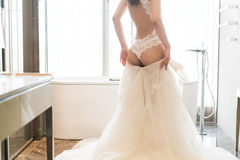 Wearing wedding dress Stock Images