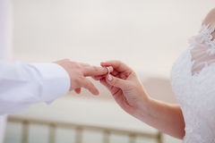 Wearing wedding ring ceremony Royalty Free Stock Images
