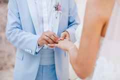 Wearing wedding ring ceremony Royalty Free Stock Photo