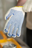 Wearing work glove Royalty Free Stock Photography