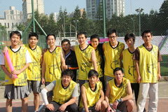 Wearing yellow ball clothing OF THE staff basketball team in SHENZHEN Stock Photos