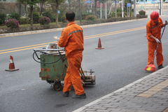 Wearing yellow clothes of the Road staff in SHENZHEN,CHINA Stock Photos