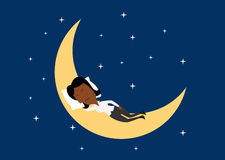 Weary businesswoman sleeping on the moon Royalty Free Stock Photos
