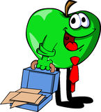 Weary but smiling apple with an opened briefcase Royalty Free Stock Photo