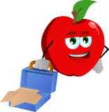 Weary but smiling apple with an opened briefcase Stock Image