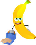 Weary but smiling banana with an opened briefcase Stock Photography