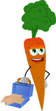 Weary but smiling carrot with an opened briefcase Stock Photo