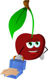 Weary but smiling cherry with an opened briefcase Royalty Free Stock Image