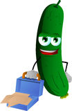 Weary but smiling cucumber or pickle with an opened briefcase Stock Photos