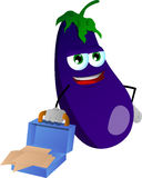 Weary but smiling eggplant with an opened briefcase Royalty Free Stock Photography