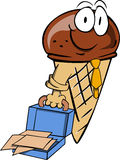 Weary but smiling ice cream cone with an opened briefcase Royalty Free Stock Photos