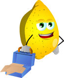 Weary but smiling lemon with an opened briefcase Stock Images