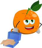 Weary but smiling orange with an opened briefcase Royalty Free Stock Photos