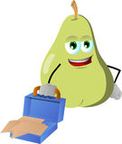 Weary but smiling pear with an opened briefcase Royalty Free Stock Photography