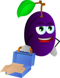 Weary but smiling plum with an opened briefcase Stock Photography