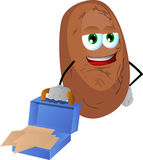Weary but smiling potato with an opened briefcase Royalty Free Stock Photos