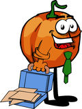 Weary but smiling pumpkin with an opened briefcase Stock Photos