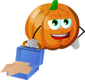 Weary but smiling pumpkin with an opened briefcase Stock Photo