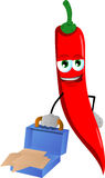 Weary but smiling red hot chili pepper with an opened briefcase Stock Photo