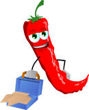 Weary but smiling red hot chili pepper with an opened briefcase Royalty Free Stock Image