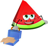 Weary but smiling slice of watermelon with an opened briefcase Royalty Free Stock Photography