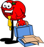 Weary but smiling tomato with an opened briefcase Royalty Free Stock Photo