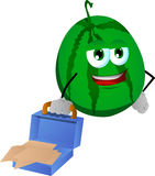 Weary but smiling watermelon with an opened briefcase Stock Images