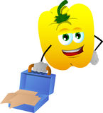 Weary but smiling yellow bell pepper with an opened briefcase Royalty Free Stock Images