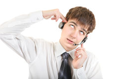 Weary Teenager with Headset Royalty Free Stock Photography