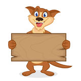 Weasel cartoon mascot holding wooden plank Royalty Free Stock Photography