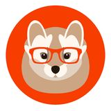 Weasel in glasses vector illustration flat style front. Side Stock Photo