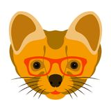 Weasel in glasses vector illustration flat style front. Side Stock Photography