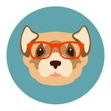 Weasel in glasses vector illustration flat style front. Side Stock Images