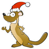 Weasel in Santa Claus hat Stock Photography