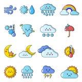 Weater icons set, cartoon style. Weater icons set. Cartoon illustration of 16 weater vector icons for web Stock Image