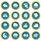 Weater icons set, simple style. Weater icons set. Simple illustration of 16 weater vector icons for web Stock Illustration