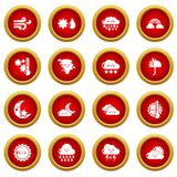 Weater icons set, simple style. Weater icons set. Simple illustration of 16 weater vector icons for web Royalty Free Illustration