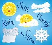 Weather. Vector illustration depicting different weather: clear skies, cloudy, rain, snow Stock Images